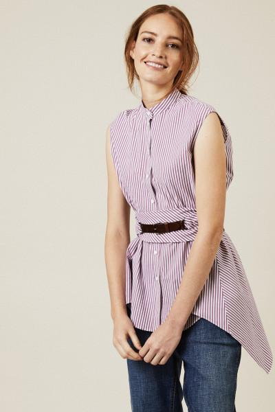 Gestreifte Baumwoll-Bluse mit Gürtel Violett/Weiß