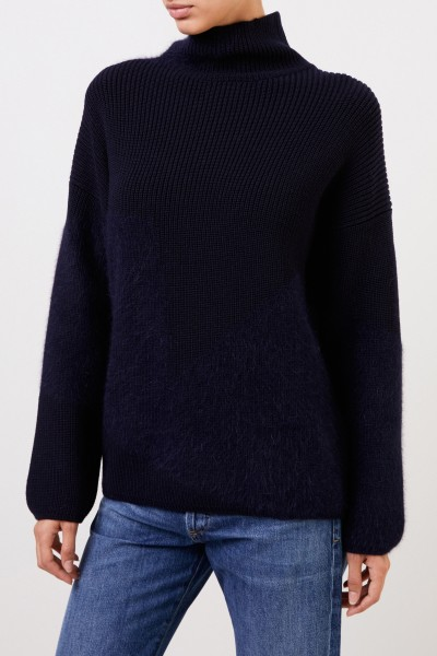 Lorena Antoniazzi Wool sweater with stand-up collar navy blue