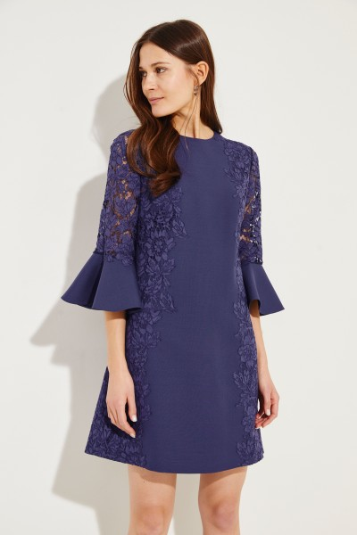 Midi dress with lace Navy Blue