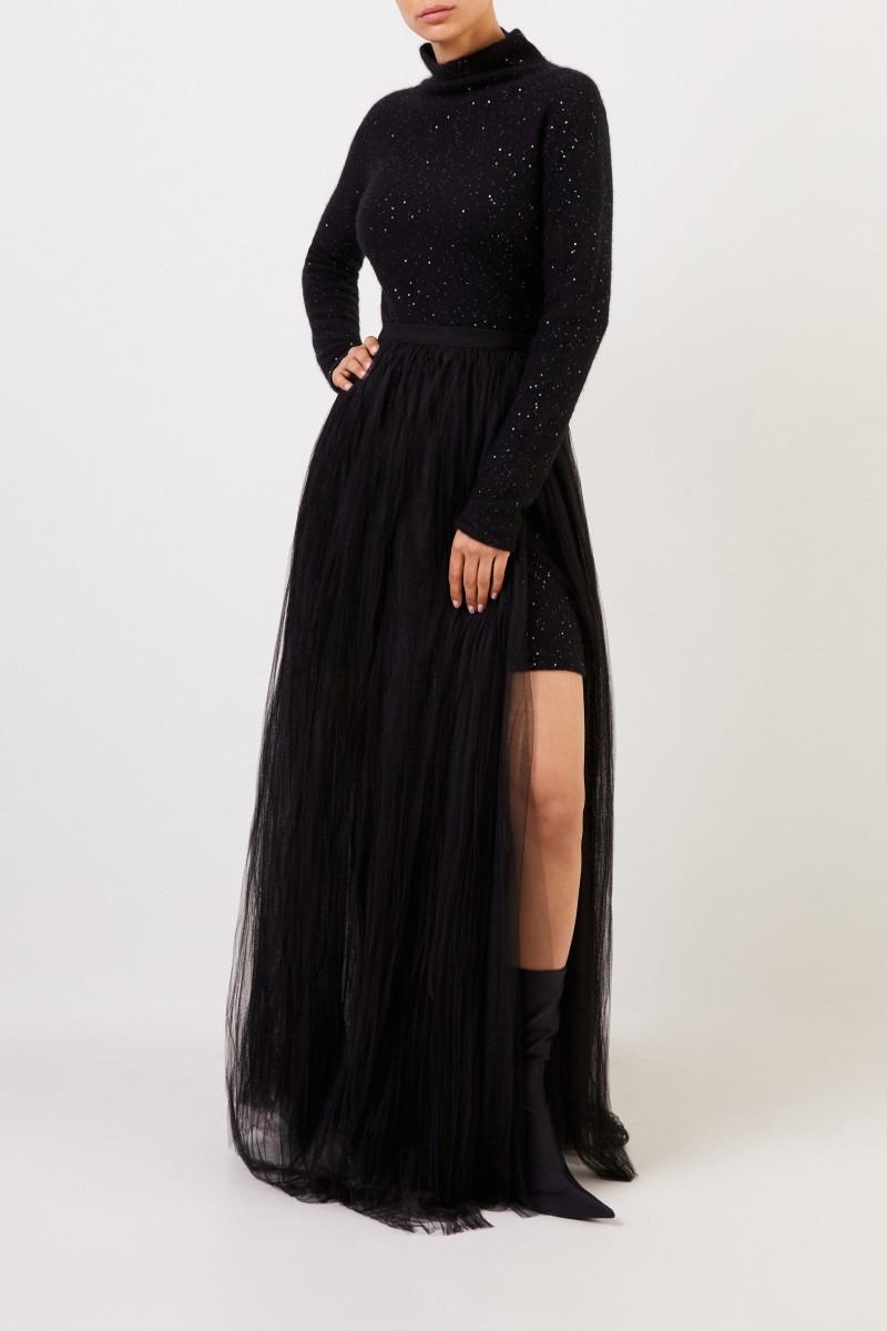 Fabiana Filippi Woll-Seidenkleid mit Pailletten Schwarz