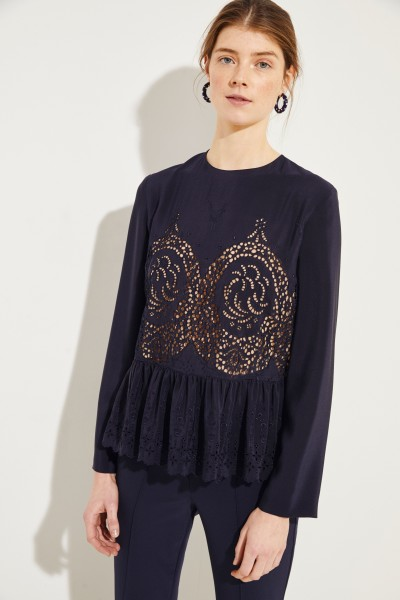 Stella McCartney Silk blouse with hole lace Navy Blue