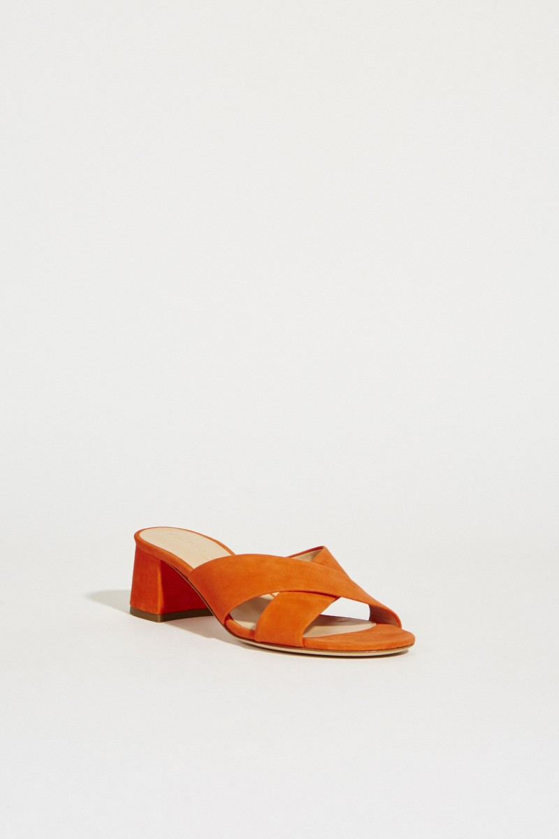Wildleder Mules Orange