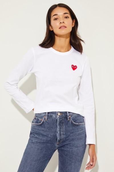 Longsleeve mit Herz-Emblem Weiß