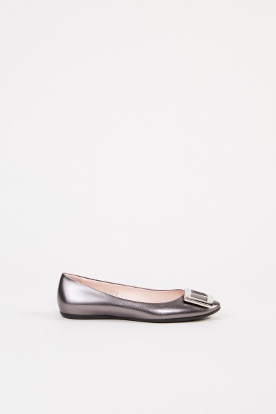 Flats 'Gommette' with Glitter Leather Grey