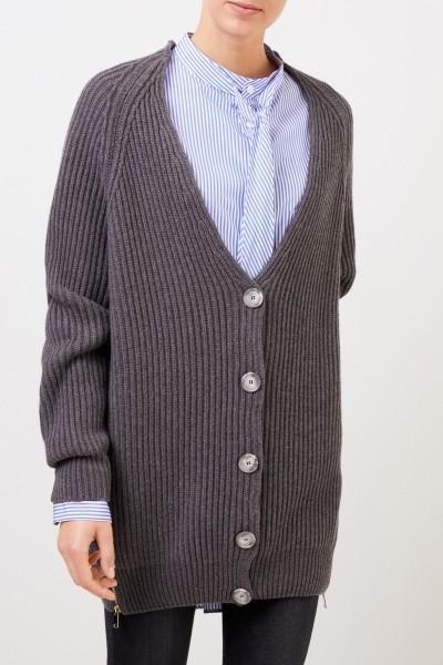 Stella McCartney Langer Woll-Cardigan mit Reißverschlüssen Grau