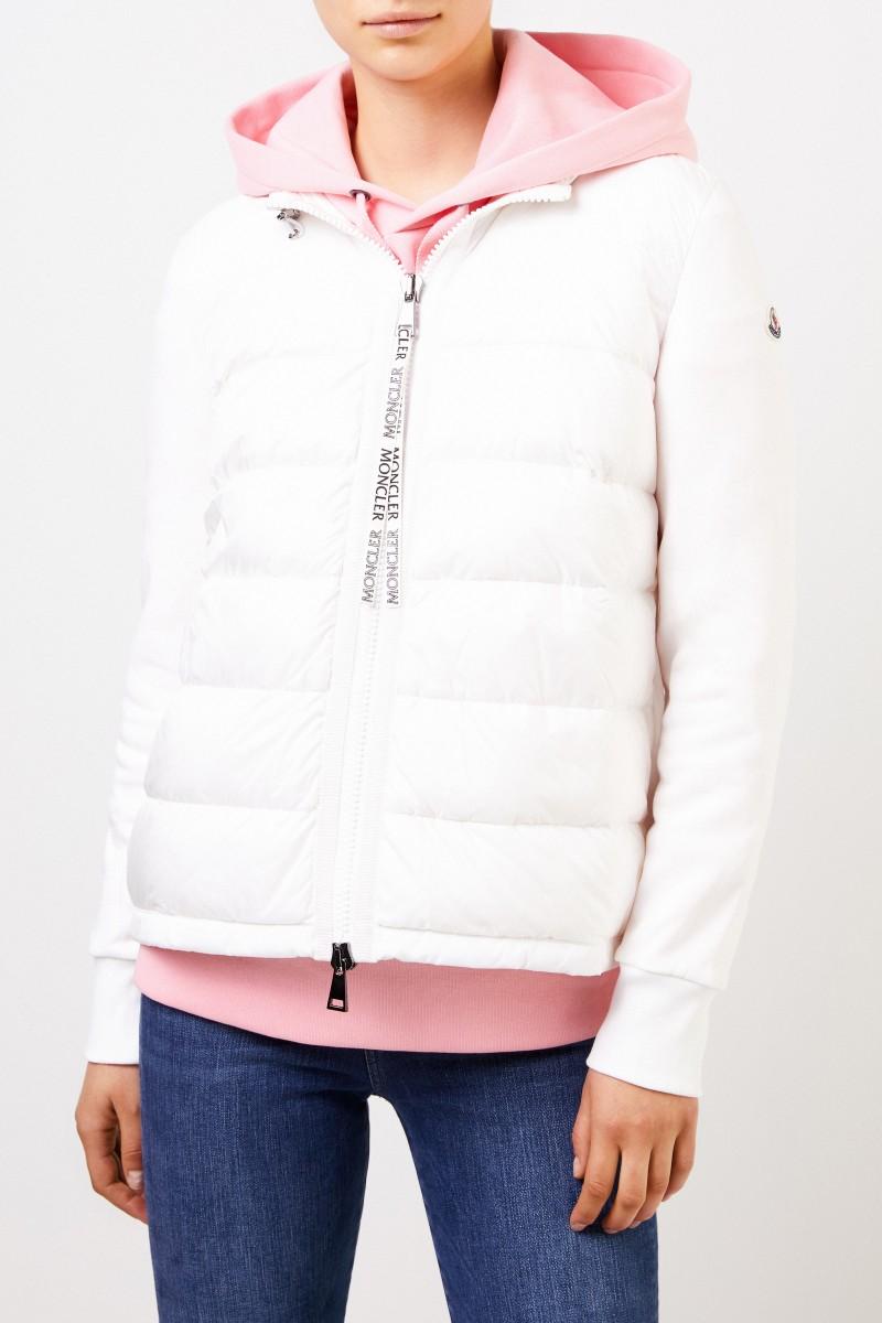Moncler Daunen-Sweatjacke mit Kapuze Weiß