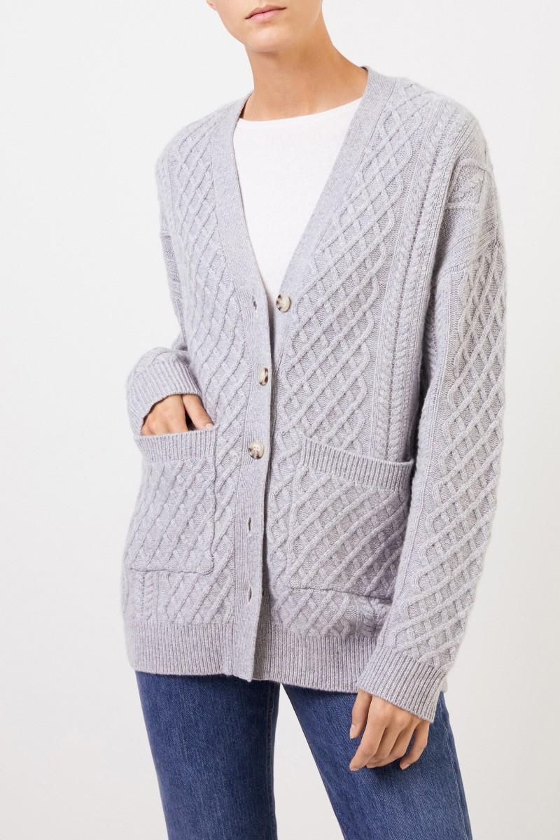 Cashmere-Cardigan mit Zopfmuster Grau