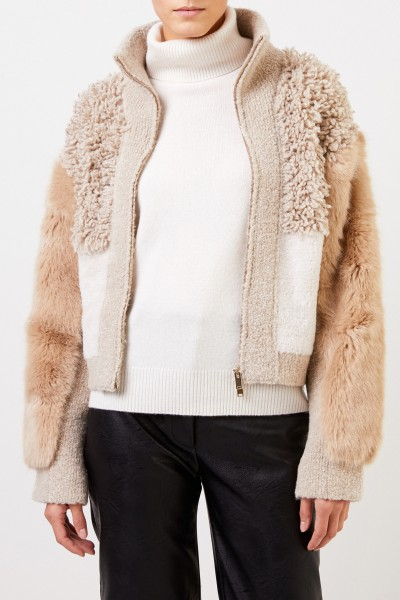 Stella McCartney Kurze Faux Fur Jacke mit Detail Camel