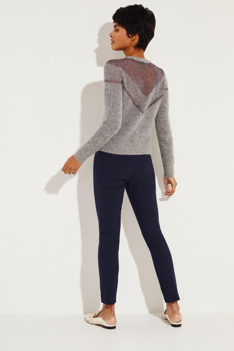 Mohair-Pullover mit Details 'Heather' Grau