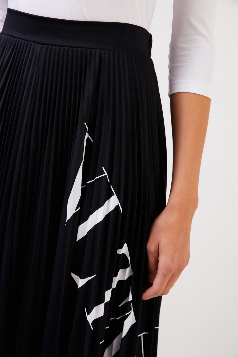 Valentino Midi Plissee-Rock mit Logo Schwarz/Weiß