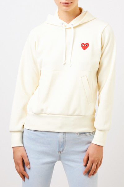 Comme des Garcons Play Hoodie with Heart Emblem Yellow