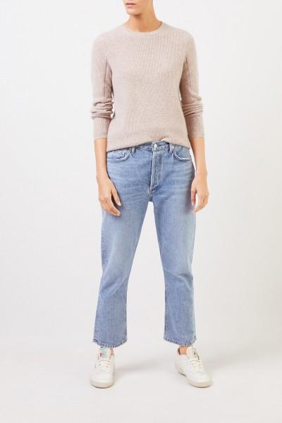 UZWEI Cashmere-Pullover mit Mesh-Strick Beige