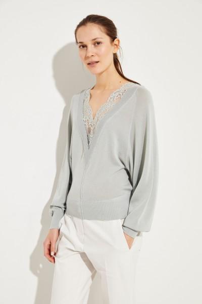 Woll-Seiden-Pullover mit Spitzeneinsatz Bleached Grey