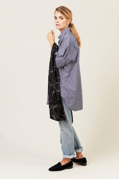 Gestreifte Bluse mit Seidendetails Marineblau