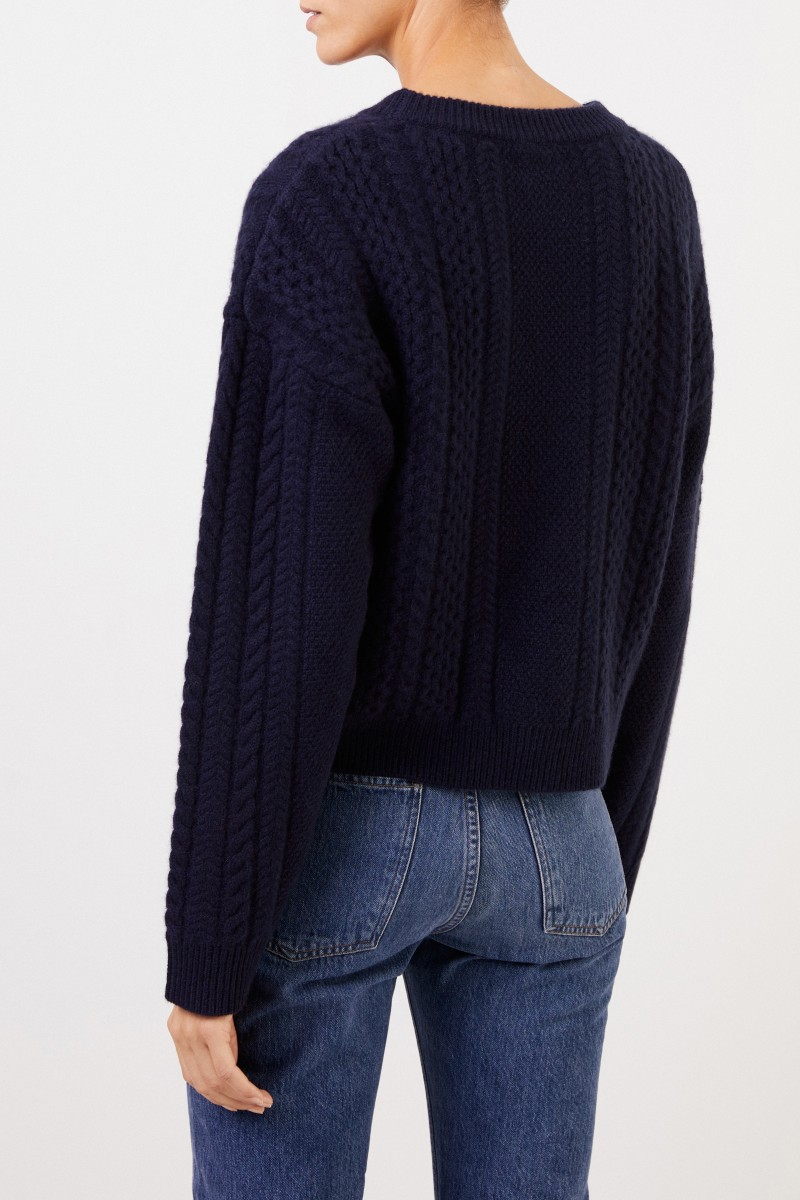 Cashmere-Pullover mit Zopfmuster Marineblau