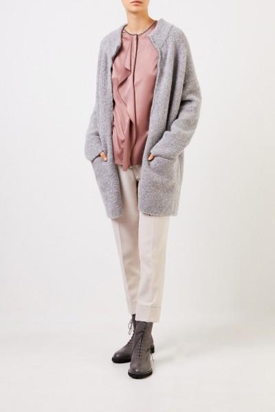 Wool-mohair-alpaca-knitted coat Grey