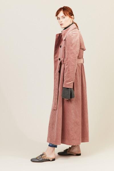 Cord-Trenchcoat mit Gürtel Rosé