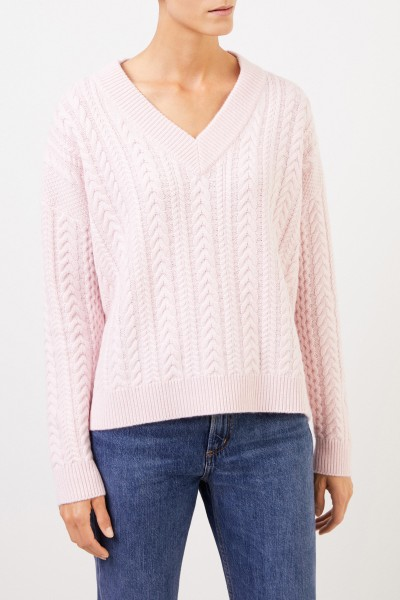 Uzwei V-neck cashmere pullover with cable stitch Light Pink