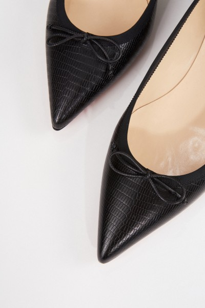 Christian Louboutin Pointed leather flat 'Hall' with reptile-look Black