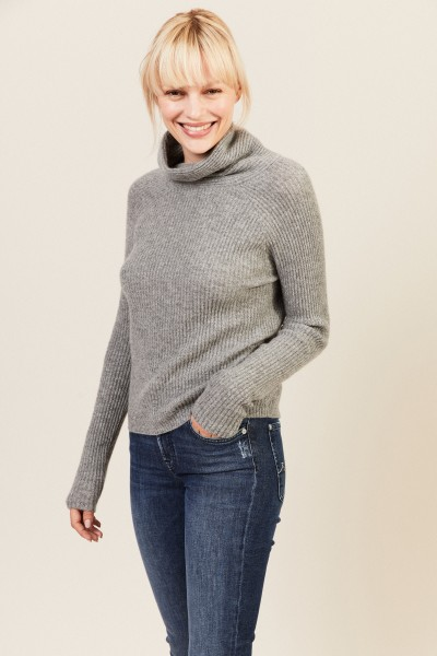 Rippstrick Cashmere-Pullover Grau
