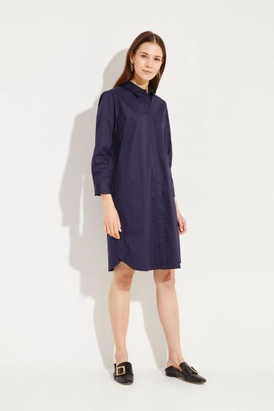 Baumwoll-Hemdblusenkleid Blau