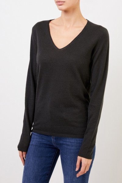 Iris von Arnim Cashmere Sweater 'Roxbury' with V-Neck Green
