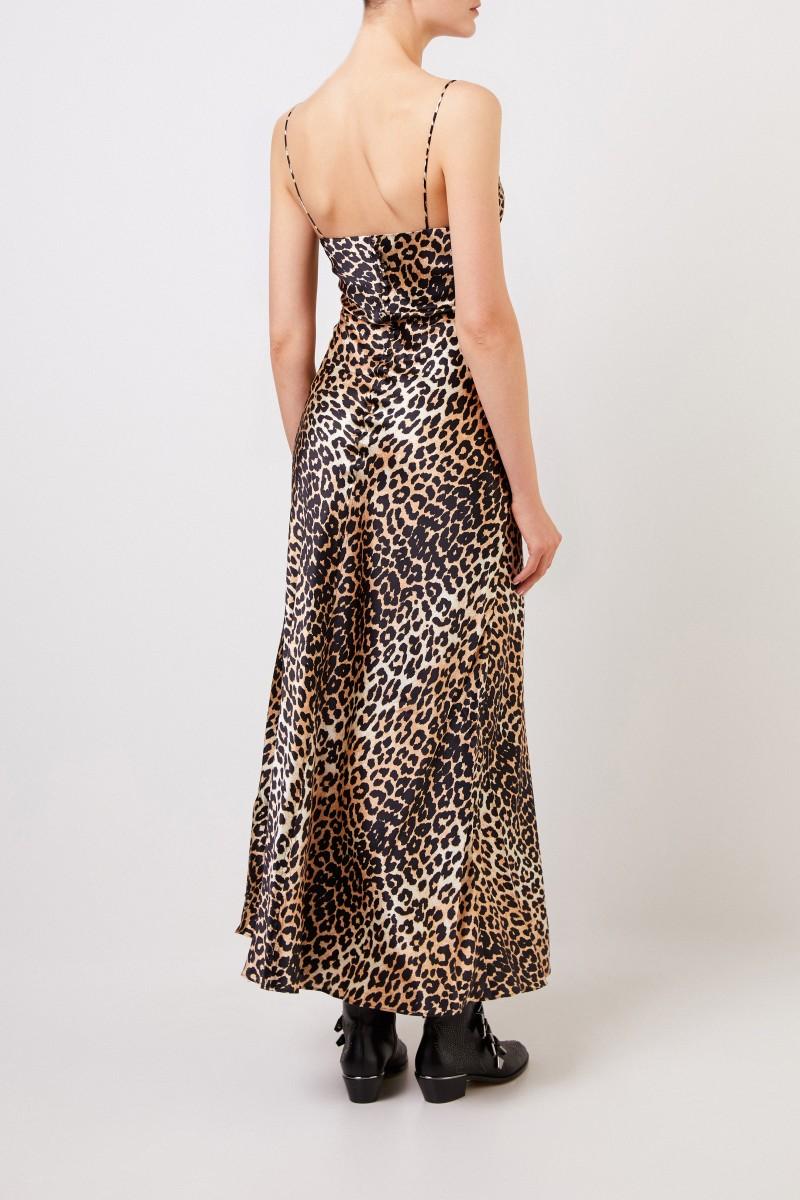 Seiden Kleid mit Leoprint Multi