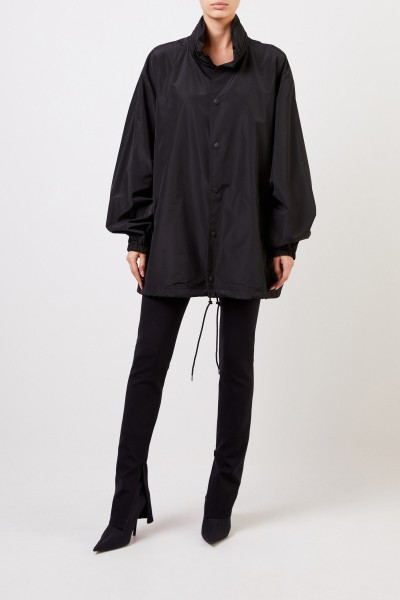 Oversize Jacke mit Logo-Schriftzug Schwarz