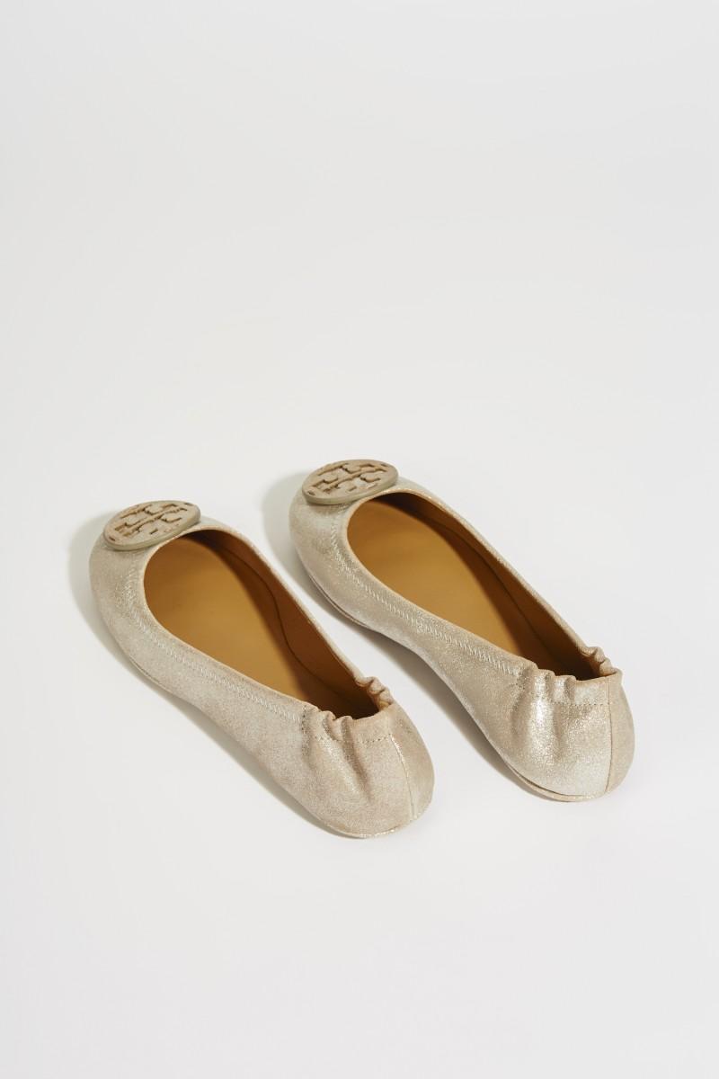 Leder-Ballerina 'Minnie Travel Ballet' Sand