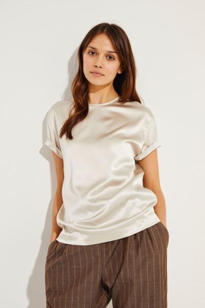 Seiden-Shirt mit Perlenverzierung Créme