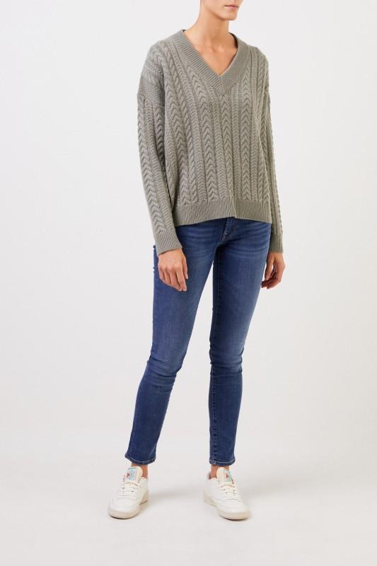 Uzwei V-Neck Cashmere-Pullover mit Zopfmuster Salbei