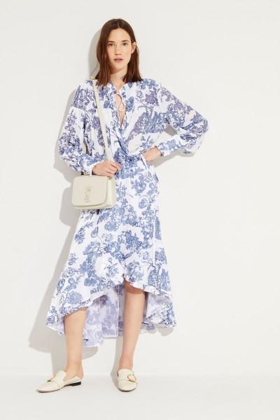 Wickelkleid mit floralem Muster Weiß/Blau