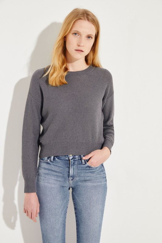 88121b739ea Cotton-linen pullover with sequin details Grey