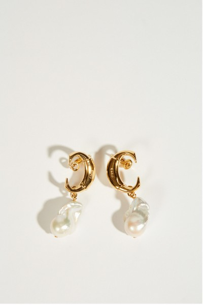 Earrings 'Darcy Baroque' with pearls Gold/White