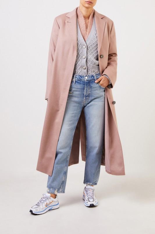 Agnona Langer Cashmere-Mantel mit Gürtel Rosé