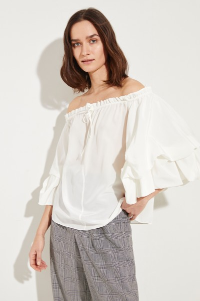 Silk blouse 'Georganne' with flounces White