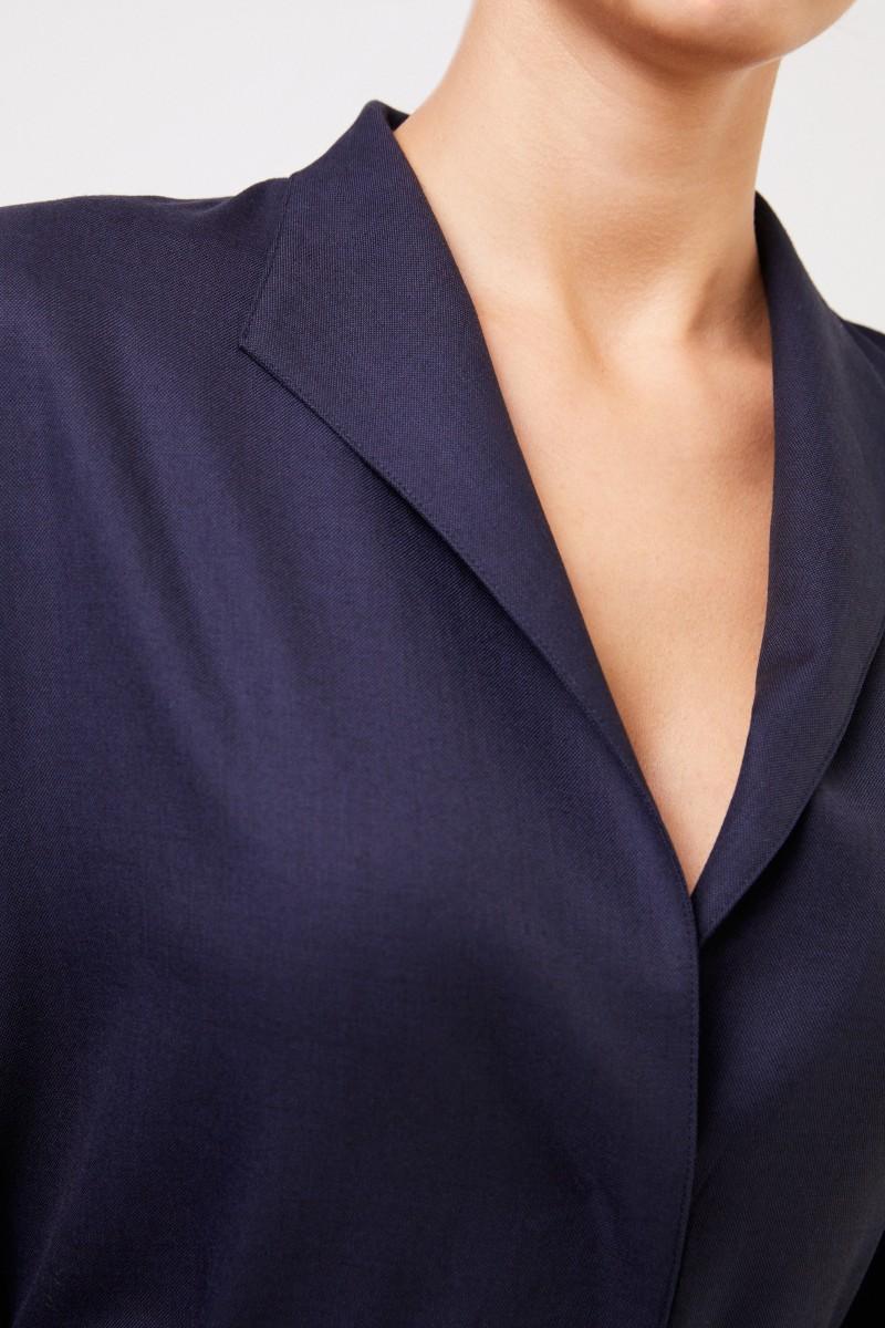 The Row Woll-Hemdblusenkleid 'Tula' Marineblau