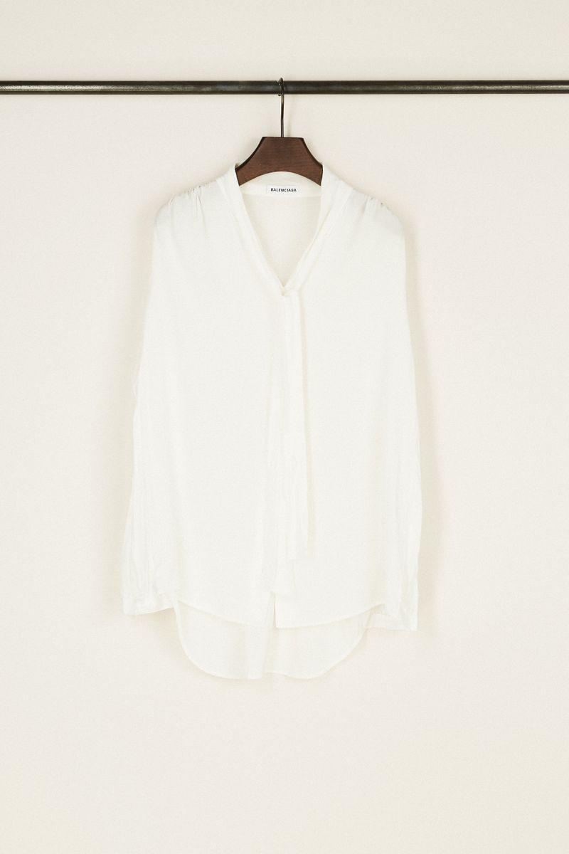 Seiden-Bluse mit Bindedetail Weiß