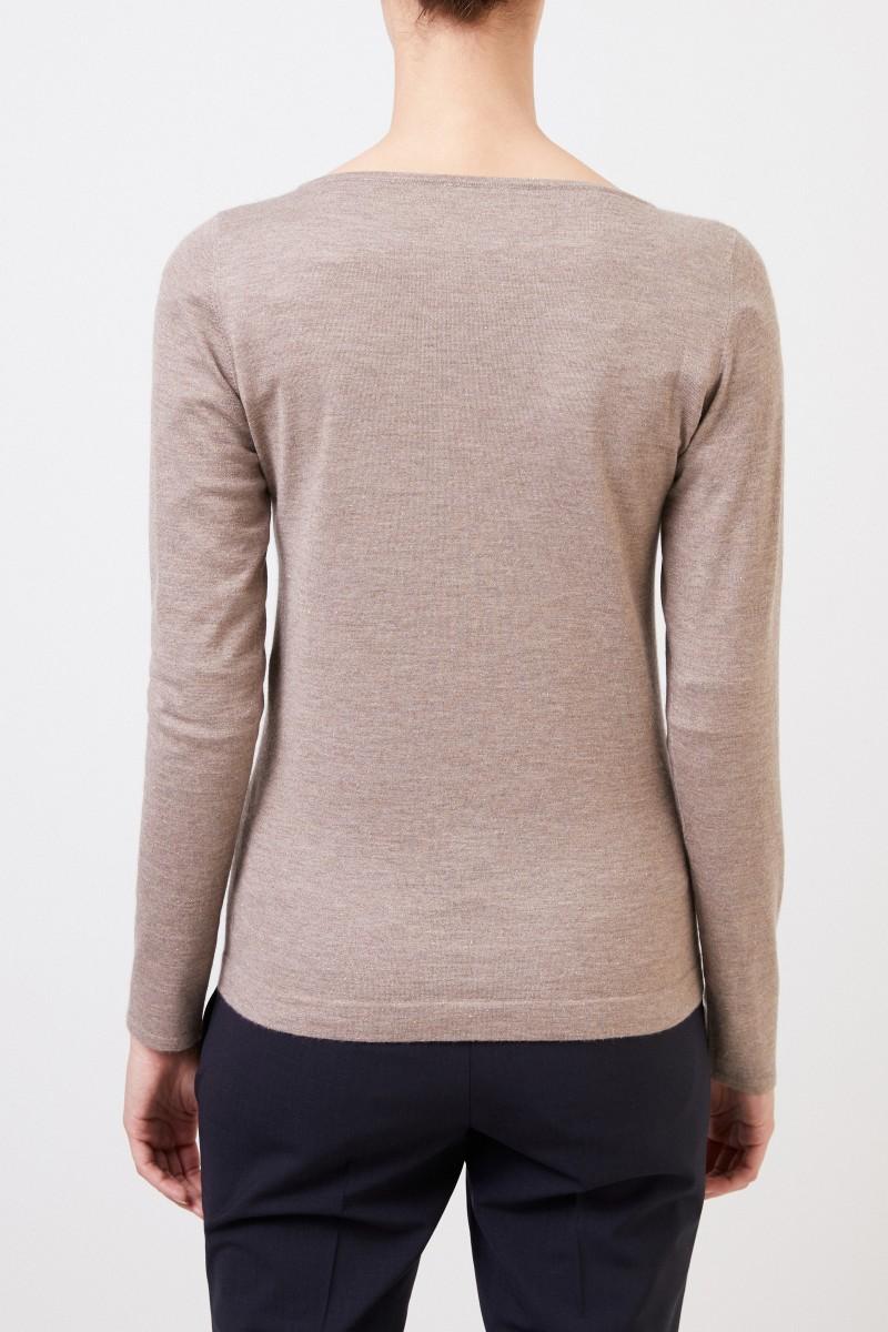 Brunello Cucinelli Cashmere-Pullover mit Lurexdetails Beige