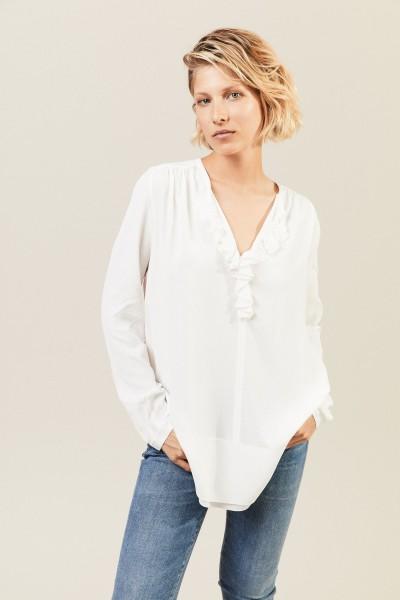 Leichte Bluse mit Volant 'Pearl' Weiß