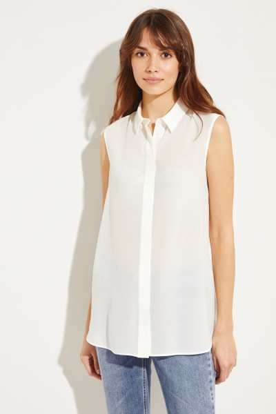 Silk blouse with short sleeves Cream