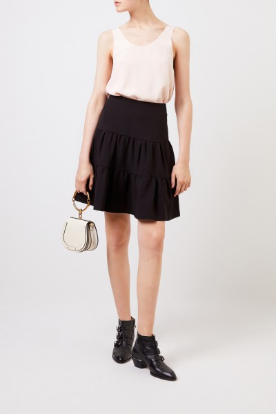 Midi skirt with volant Black