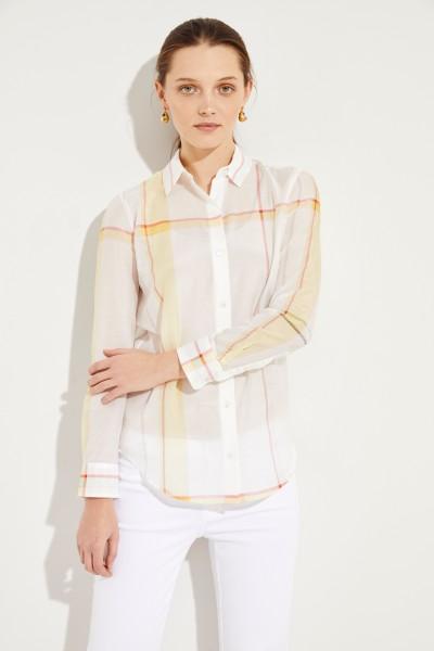 Baumwoll-Seiden-Bluse mit Karomuster Weiß/Multi