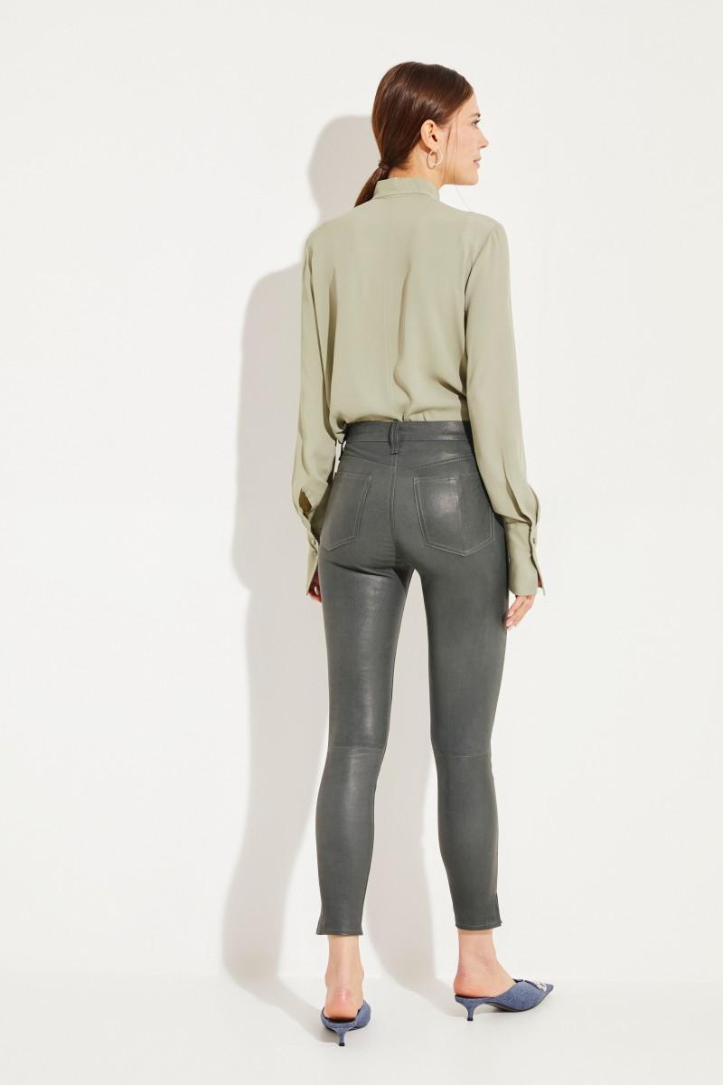 High Rise Skinny-Lederhose Grün