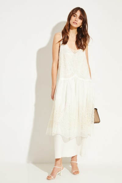 Silk dress with embroidery Cream