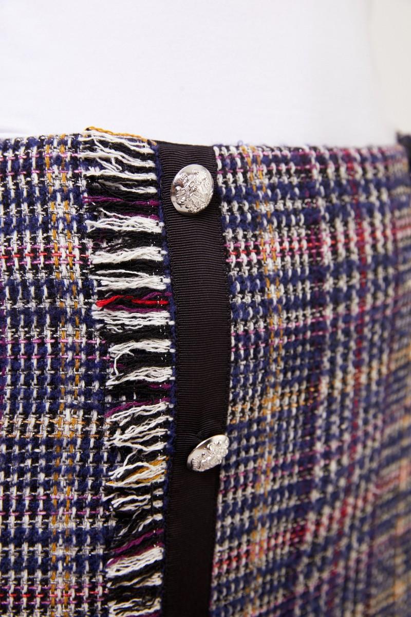Veronica Beard Kurzer Woll-Tweed Rock Marineblau/Multi