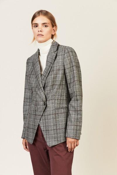 Taillierter Glencheck-Wollblazer Grau