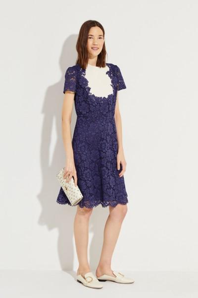 Valentino Short lace dress Blue/Cream