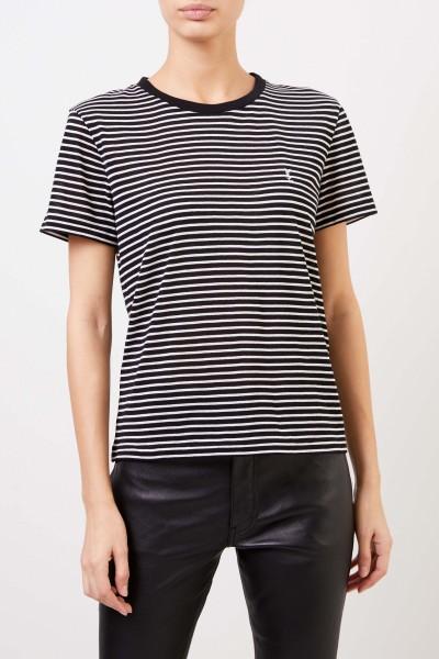 Saint Laurent T-Shirt with stripes Black/White