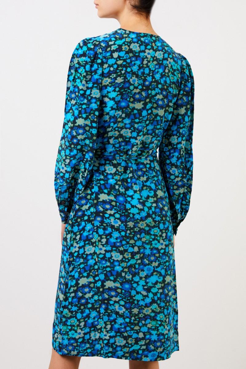 Ganni Seiden-Wickelkleid mit floralem Print Multi